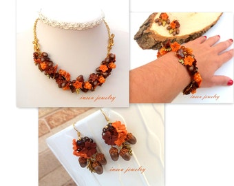 Fall Jewelry,Acorn Jewelry,Fall Necklace,Fall Bracelet,Necklace Turns Into Bracelet,Fall Earrings,Berry Jewelry,Berries,Fall Gift,Handmade