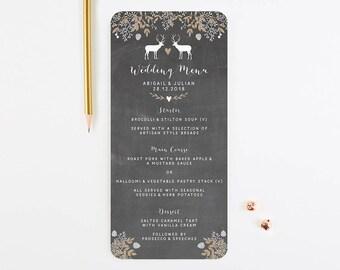 Chalkboard Winter Stag Wedding Menu