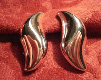 Givenchy Silver Tone Abstract Clip Earrings