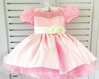 baby Sleeves Toddler Easter Dress in Pink Lace, Baby Girl Dress, Infant Pageant Dress LG009