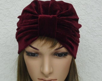 Burgundy turban, velvet women's hat, 50s velvet turban hat, retro style turbans, fashion women's hat, stretchy turban, vintage style turban