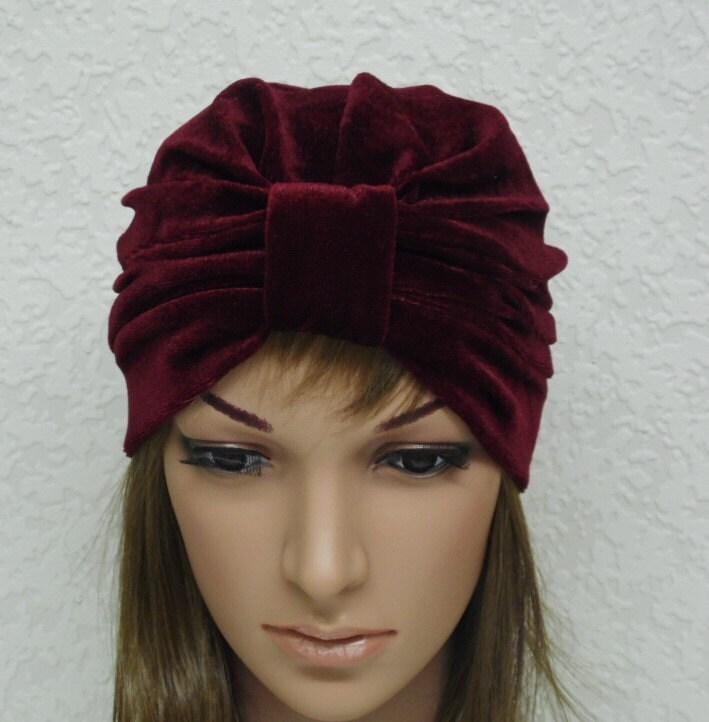 bordeaux turban chapeau de velours femmes ann es 50 chapeau. Black Bedroom Furniture Sets. Home Design Ideas