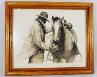 Partners print of the Marlboro Man, Cowboy Feeding Horse and Apple, Wood framed, Advertising Print, W H Ford Artist