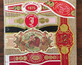 2016 Cigar Band Collage Coaster: Romantic Red