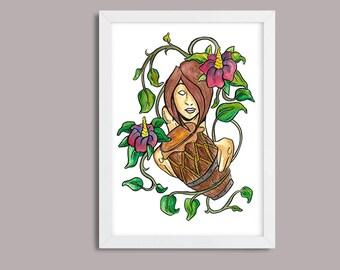 Woman Atabaque - Capoeira / A5 Art Print