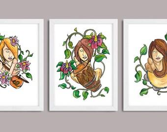 Woman Capoeira 3 for 2 - Capoeira / A5 Art Prints