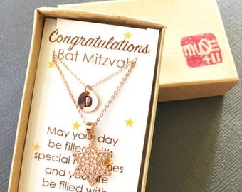 Bat-Mitzvah gift, Jewish star Necklace, Hanukkah gift, Rosegold jewish star charm, star of david jewelry, Initial disc, layering necklace
