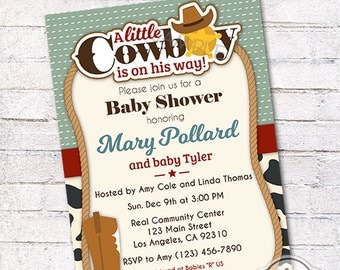 A Little Cowboy is on His Way - Baby Shower Invitation, You Print Printable Personalized Invite Card - 5x7 or 4x6
