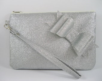 SUPER SALE - Silver Glitter Little Bow Clutch - Bridal Clutch, Bridesmaid Clutch, Wedding Clutch, Wedding GIft - Made To Order