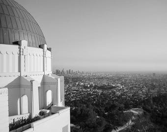 Travel Photography - Los Angeles, California - Griffith Observatory - Black and White - Fine Art Photograph Print - Home Decor