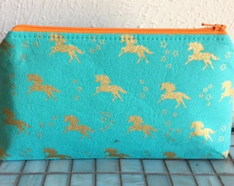 Teal Unicorn Make up Pouch