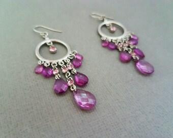 Ethnic Silver Purple Gem Chandelier Earrings, Beaded Earrings, Boho, Dangle, Swarovski, Anthropologie Inspired, Statement, Gypsy, Faceted