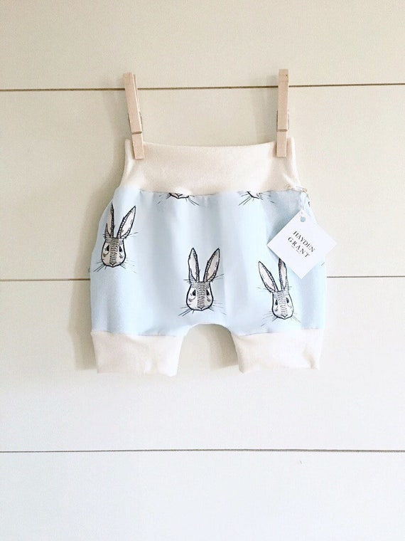 Handmade Hipster Baby Shorts | Baby Shorts | Baby Harems | Harem Shorts | Baby Girl Shorts | Baby Boy Shorts | Organic Bunny Rabbit | Easter