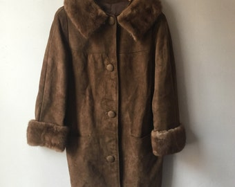 1960s suede and fur winter coat sz small-med