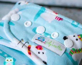 "Trim Fit Hybrid Fitted Cloth Diaper- ""Polar Bears"""