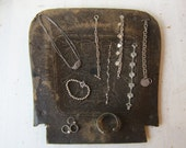 Black Jewelry Display Board - Antique Embossed Fiberboard Chair Seat - Flat Necklace / Bracelet / Ring Backdrop - Ready to Ship
