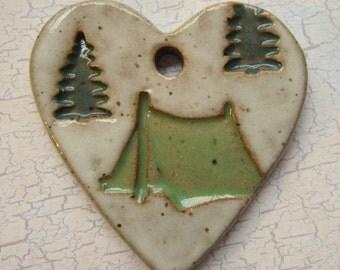 Large Glazed Pottery Pet Cremains Motif Pendant or Ornament - Custom Memorial Pet Cremation Keepsake - CAMPING