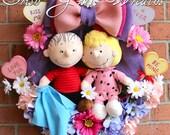 Peanuts Wreath, Valentines Wreath, Sweet Babboo Sally and Linus Wreath, lavender, Pink, Purple Valentine decor, Conversation Hearts, Spring