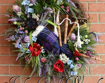 XL Pride Of Scotland Tartan Scottish Highland Bagpipes and Wildflowers Wreath, Heather and Thistle Wreath, Large, Celtic Floral