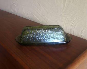 Vintage Anchor Hocking Sereno Avocado Green Covered Butter Dish Rare