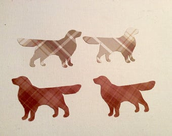 Golden Retriever plaid cut outs die cuts punch outs