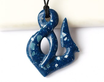 Fish hook, Hei matau, Maori hook, Maori necklace, Blue pendant, Blue necklace, Blue jewelry, Men necklace, Corian pendant, Maori twist