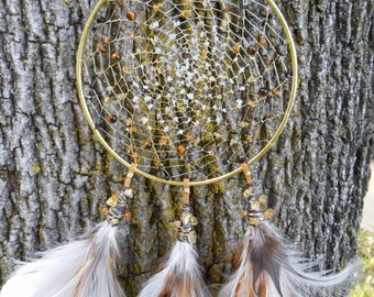 Ethiopian Opal and Cirtrine Crystal Hand-Woven 6 Inch Bohemian tribal Gold Dream Catcher by The Emerald Lotus