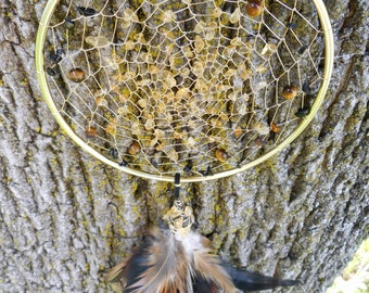 Citrine Crystal Hand-Woven 5 Inch Bohemian tribal Gold Dream Catcher by The Emerald Lotus