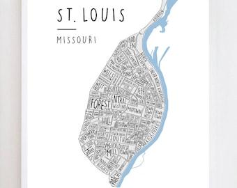 St Louis Neighborhood Map | Missouri | Wall Art Print Design