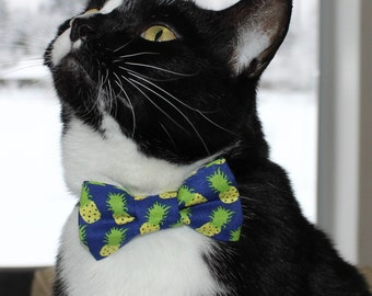 Pineapple Bow Tie for Cat or Dog, Pet Clothing, Slide on Collar Accessory, Bowtie, Handmade in Canada, Fruit, Blue, Clothing for Animals