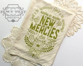 Great is Thy Faithfulness/Morning by Morning new mercies I see. Natural Cotton Flour Sack Tea Towel. Hymn Art. Hostess gift. Christmas gift