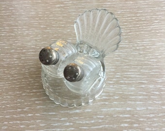 Vintage Salt & Pepper Shakers ~ Sterling Silver and Clear Glass with Shell Holder