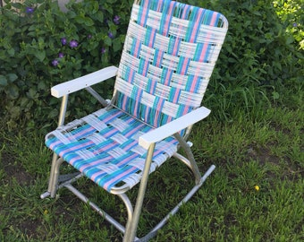 Vintage Aluminum Webbed Rocking Lawn Chair