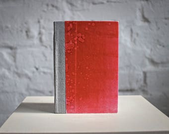"""20% OFF SALE Hardcover Journal Pocket Universe """"Red Bacteria"""", Hand-made"""