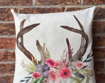 antler pillow. Floral antler pillow. Throw pillow. Decorative antler pillow. Antler decor. Floral pillow. home decor. Mother's day gift