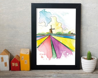 Dutch Windmill Watercolor Painting, Dutch Landscape, Dutch Windmill Watercolor Print