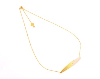 INTI rod necklace, élégant, gold and lambskin leather