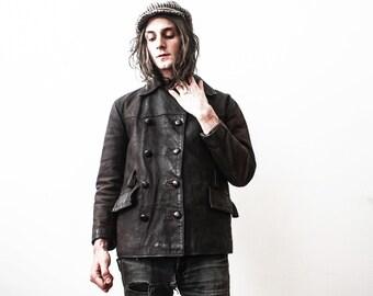 Vintage Brown Leather Jacket 1960s Coat Men Boho Casual Blazer Oil Tanned Slim Fit Coat