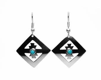 Navajo Diamond Shaped Sterling Silver Earrings