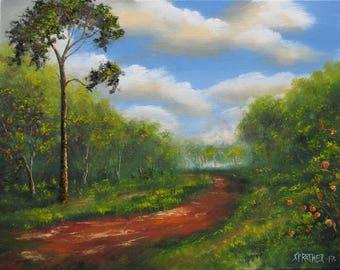 "Original Tropical Florida Landscape Oil Painting 16x20 S Prather ""Orange Grove"""