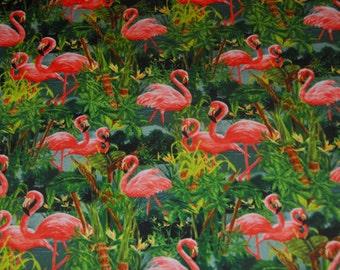 David Textiles Tropical Flamingo Shirting Cotton Fabric By the Half Yard or Full Yard