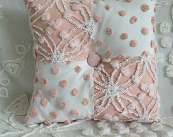 """Pillow Vintage Chenille in Cabin Crafts Wedding Ring and Handmade Pops...12 x 12"""""""