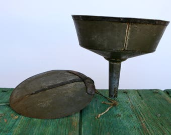 Oversize Italian metal funnel with lid