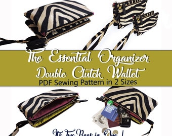 The Essential Organizer Double Clutch PDF Sewing Pattern. Bag sewing pattern. Purse pattern