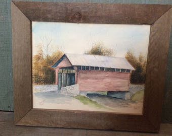 Framed Watercolor of Roddy Road Md. Covered Bridge