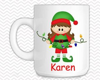 Christmas Elf Girl Kids Mug - Personalized Elf Mug - Customized Mug - Melamine Cup - Personalized Kids cup