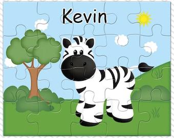 Zebra Personalized Puzzle, Personalized  Zebra Puzzle, Personalized Kids Puzzle