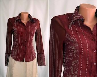 Vintage Romantic Blouse/Shirt, size S-M /38-40/