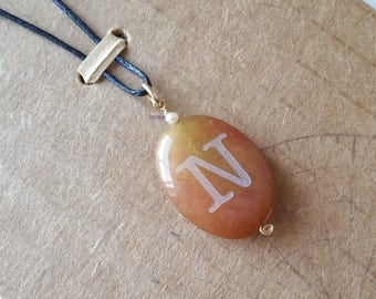 Soo chow jade pendant with sandblasted initial N and pearl