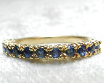 Sapphire Ring 14K Gold Sapphire Ring Blue Sapphire September Birthday Sapphire Stacking Ring 14K Gold Vintage Rings